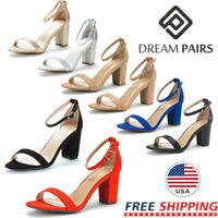 DREAM PAIRS Women's Low Block Heel Ankle Strap Open Toe Party Dress Pump Shoes