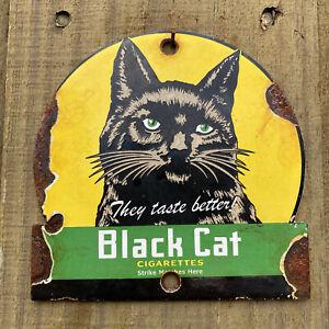 """Vintage Black Cat Cigarettes Porcelain Pipe Tobacco Cigar Metal Gas Oil 5"""" Sign"""