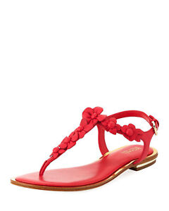 Michael Kors Tricia Flower Leather Thong Sandal Pink Sz.7