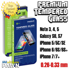 Premium 9H Tempered Glass Screen Protectors For Galaxy, Note, iPhone .26-.33mm