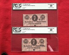 2 Consecutive Serial # T-72 50c Fifty Cent CSA Confederate Notes *PCGS 40 XF*
