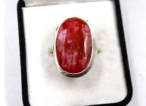 Natural 925 Sterling Silver Oval 48.45Ct Red Ruby Stone Ring US Ring Size 9.6