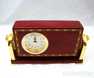 Easton Desk Clock Lacquered Inlaid Marquetry & Brass