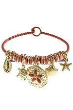 Bangle Bracelet Beach Sand Dollar Starfish Coral Ocean Sea Life Dangle Charm