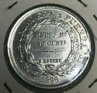 1899 Bolivia 50 Centavos - Nice Condition