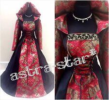 Abito da sposa Medievale 22-24-26 2XL-3XL-4XL Gothic Witch Costume Tudor Larp LOTR