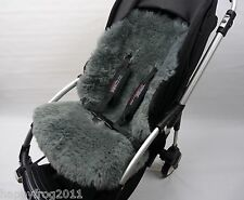 GREY SHEEPSKIN Buggy Pushchair Pram Car Seat Liner Mat Natural Warm and Fluffy