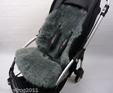 GREY SHEEPSKIN Buggy Pushchair Pram Car Seat Liner Mat Natural Warm&Fluffy