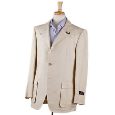 NWT $3995 D'AVENZA Beige Linen Safari-Style Suit with Buckled Collar 40 R
