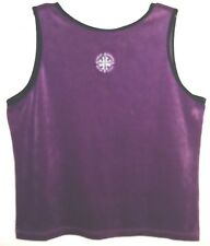 Harley Davidson Velour Purple Tank Top Drop Back Shirt Womens XL Embroidered