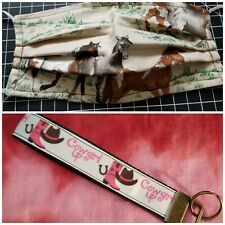 "Buy Cowgirl up"", Keychain,Keyfob, wristlet, get FREE horse design facemask"