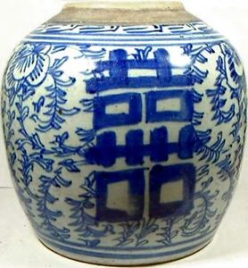 """Antique Porcelain Blue + White """"Ming Style"""" Pot LARGE 19thC China Hand Painted"""
