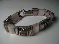 Vintage Faux Moonstone  & Amethyst  Silvertone Ornate Heart Accents Bracelet