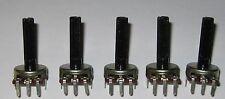 "5 X 50k Ohm Linear Potentiometer - Knurled 1/4"" Shaft - PC Board Mount Taper"