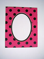 Picture Framing Mat 8x10 for 5x7 photo Polka Dot Hot Pink and Black Fashion Mat