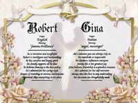 """Wedding Vows"" Double Name Meaning Print Personalized (Love, Romance, Marriage)"