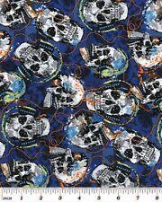 Fat Quarter Rock Legends Skulls Cotton Quilting Fabric 50cm x 55cm  Benartex