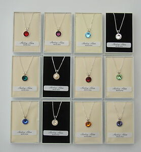 STERLING 925 SILVER SWAROVSKI ELEMENTS CRYSTAL BIRTHSTONE PENDANT & NECKLACE