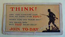 Cigarette/Trading Card Reproduction of a WW1 Recruiting Poster Rates of Pay 17