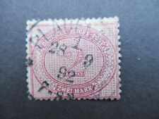 1889 Alemania Deutsche Reich-Post SG38e 2 Mark Usado Rojo-Lila Cv £ 60
