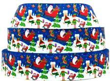 """Grosgrain Ribbon Ribbon 7/8"""" & 1.5"""" Christmas Elf Snowman Santa Sleigh Printed."""