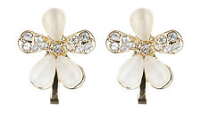 CLIP ON EARRINGS - gold flower earring with clear crystals and stones - Colette