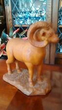 Hand Carved Figure Wood Figure Curly Long Horn Ram Goat