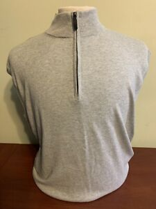 NWT Alashan Douglas Anthony Men's XL 1/4 Zip Cotton Cashmere Grey Sweater