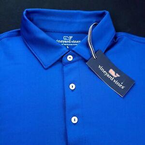 Vineyard Vines Golf Performance Stretch Polyester Solid Polo Shirt Royal Blue