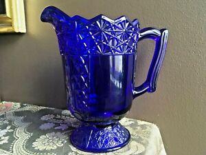 40 oz Cobalt Blue Pressed Glass Water Iced Tea Pitcher Queen Pattern by Mosser
