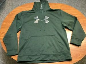 MENS USED UNDER ARMOUR DARK GREEN BIG LOGO HUNTING PULLOVER HOODIE SIZE XL