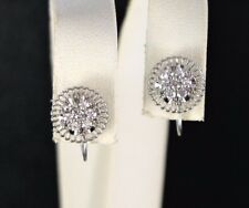Vintage Jabel 18K White Gold Single Cut Diamond Screw Back Stud Earrings