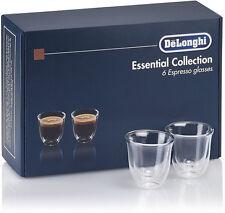 DELONGHI SET 6 TAZZINE TERMICHE DA CAFFE' VETRO BOROSILICATO DOPPIA PARETE 60ml