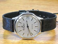 Dufonte New Vintage  Silver Tone Quartz Watch Made in Germany w/ Black Band