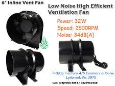"6"" Axial 300m3/hr 30W Silent Vent Fan Fo Hydroponics Grow Tent Grow Lights"
