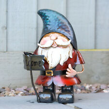Garden Gnome With Welcome Sign 31cm Metal Ornament Outdoor Sculpture Figure Gift