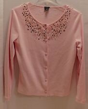 Rafaella peach color long sleeve top, beads at the neckline-Size P/S