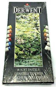 New Vintage Rexel Cumberland Derwent 12 Soft Pastels Art Supplies 5010255