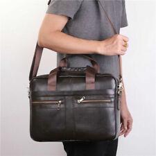 Men Fashion Cowhide Leather Briefcase Shoulder Messenger Bag Laptop Handbag