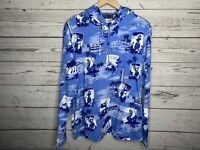 Polo Ralph Lauren Mens Blue Hawaiian Aloha Hoodie Shirt Size Large NWT