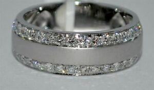 Solid 14K White Gold Finish 2.20 Ct Diamond Men's Engagement Wedding Band Ring