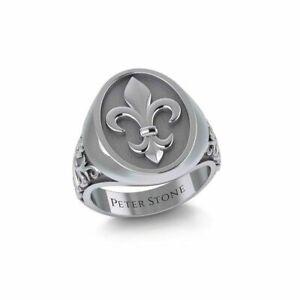 Fleur de Lis .925 Sterling Silver Ring Signet Peter Stone Jewelry Fine Jewelry