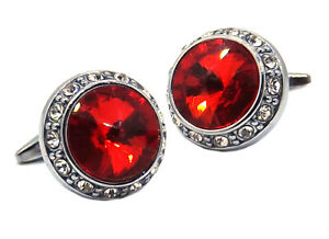 Large Cufflinks with Ruby Red Swarovski crystals Mens gift by CUFFLINKS DIRECT
