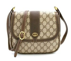 【Rank AA】 Authentic Gucci GG Supreme Crossbody Shoulder Bag PVC Leather Brown