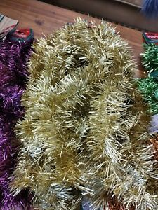 7Pcs 2M Traditional Christmas Tinsel Party Home Decoration Gold Bulk 75mm