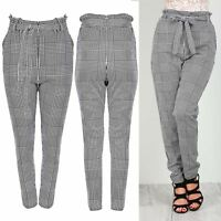 Ladies Elastic Tie Knot Waist Dogtooth Houndstooth Pockets Womens Pants Trouser