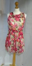 Women's V London Summer Dress Pleated Floral Fit & Flare Size 10