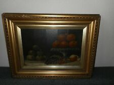 Antique oil painting, { Still life with fruit, signed F Woodfield 1904 }.