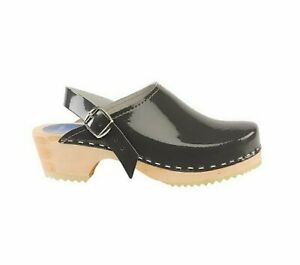 Torpatoffeln CAPE CLOGS SWEDEN Wooden Sole Grey Patent Leather Shoes US10/EU 41