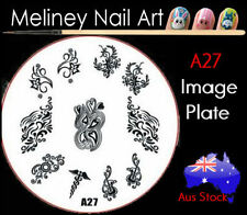 A27 Stamping Nail Art Image Plate Design Round XL Stencil metal